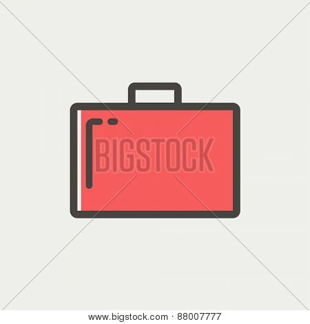 Suitcase icon thin line for web and mobile, modern minimalistic flat design. Vector icon with dark grey outline and offset colour on light grey background.
