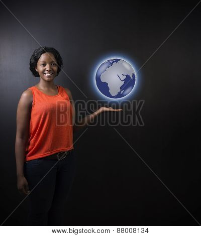 South African Or African American Woman Teacher Or Student Holding World Earth Globe