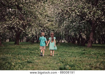 two kid friends walking in spring apple garden