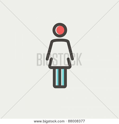 Woman standing icon thin line for web and mobile, modern minimalistic flat design. Vector icon with dark grey outline and offset colour on light grey background.