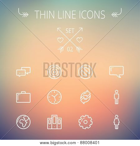 Technology thin line icon set for web and mobile. Set includes - chat, goal, clock, globe, gear, man, woman icons. Modern minimalistic flat design. Vector white icons on gradient mesh background.