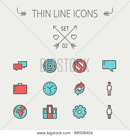 Technology thin line icon set for web and mobile. Set includes - chat, goal, clock, globe, gear, man, woman icons. Modern minimalistic flat design. Vector icons with dark grey outline and offset