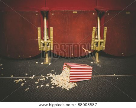 Spilled Popcorn On Floor In Cinema