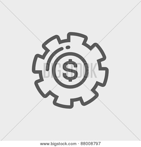 Money with gear icon thin line for web and mobile, modern minimalistic flat design. Vector dark grey icon on light grey background.