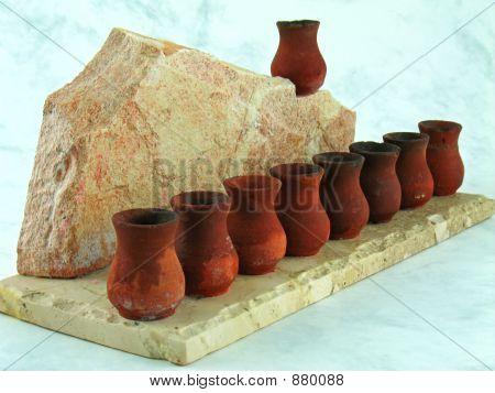 Menorah de cerámica Vintage