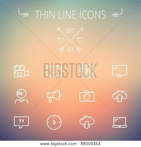 Technology thin line icon set for web and mobile. Set includes - laptop, monitor,video camera, megaphone, web camera, gear, camera, clouds up and down. Modern minimalistic flat design. Vector white