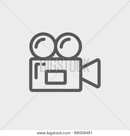 Video camera icon thin line for web and mobile, modern minimalistic flat design. Vector dark grey icon on light grey background.
