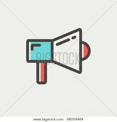 Megaphone icon thin line for web and mobile, modern minimalistic flat design. Vector icon with dark grey outline and offset colour on light grey background.