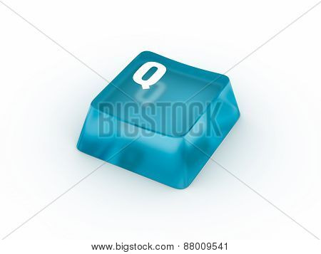 Letter Q on transparent keyboard button
