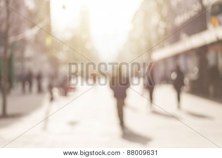 City commuters. Abstract blurred image of a city street scene.