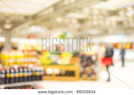 Blur Market Background With Bokeh And Silhouettes Of Customers