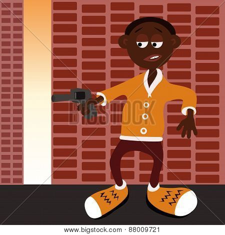 Afro american gangster with gun.