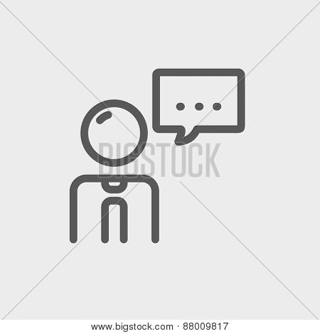 Businessman with speech bubble icon thin line for web and mobile, modern minimalistic flat design. Vector dark grey icon on light grey background.