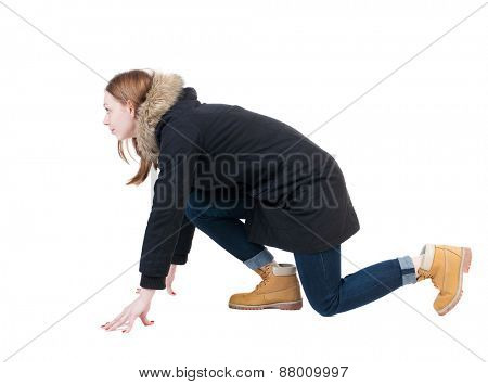 side view woman in start position. Standing young girl in parka. Rear view people collection.  backside view of person.  Isolated over white background.