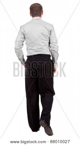 back view of walking  business man.   Isolated over white background. Rear view people collection.  backside view of person.