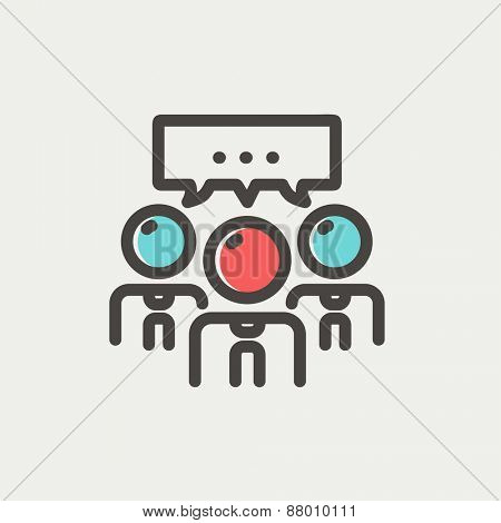 People with chat bubble icon thin line for web and mobile, modern minimalistic flat design. Vector icon with dark grey outline and offset colour on light grey background.