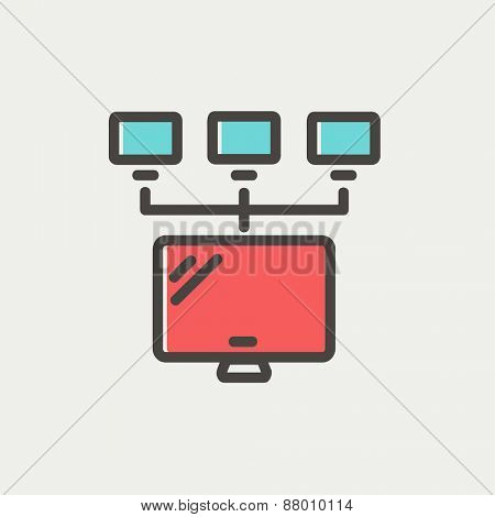 Screen with cameras icon thin line for web and mobile, modern minimalistic flat design. Vector icon with dark grey outline and offset colour on light grey background.