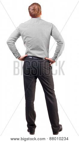back view Business man  looks ahead. Rear view people collection.  backside view of person.  Isolated over white background. broad-office worker put his hands on his hips thoughtfully reflects
