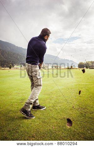 Golf Player Divot