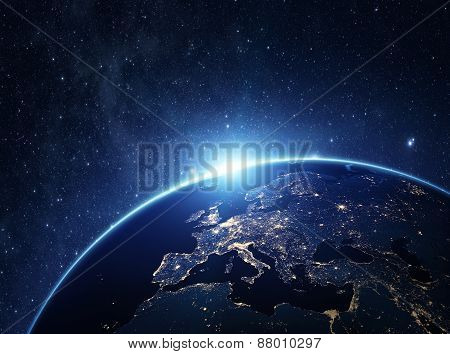 Planet Earth From The Space At Night