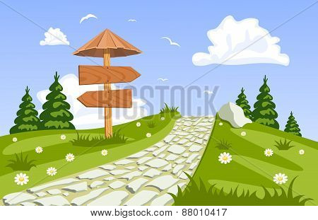 Vector Summer Landscape With A Walkway