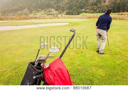 Golf Player On The Course