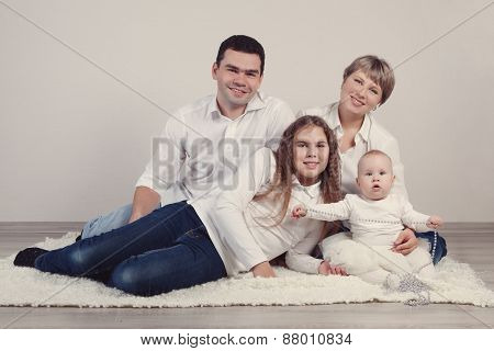 Portrait Of A Happy Family, Studio