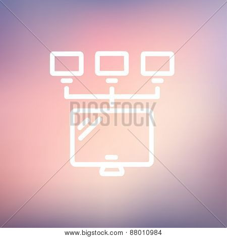 Screen with cameras icon thin line for web and mobile, modern minimalistic flat design. Vector white icon on gradient mesh background.