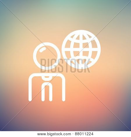 Businessman with global icon thin line for web and mobile, modern minimalistic flat design. Vector white icon on gradient mesh background.