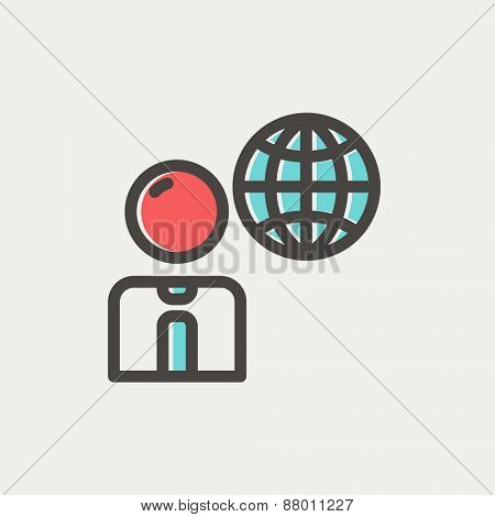 Businessman with global icon thin line for web and mobile, modern minimalistic flat design. Vector icon with dark grey outline and offset colour on light grey background.