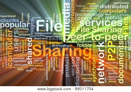 Background text pattern concept wordcloud illustration of file sharing glowing light