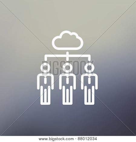 Three businessmen under the cloud icon thin line for web and mobile, modern minimalistic flat design. Vector white icon on gradient mesh background.