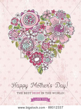 Pink Mother's Day Card With Big Heart Of Spring Flowers,  Vector Illustration