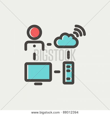 Male office with computer set and wifi icon thin line for web and mobile, modern minimalistic flat design. Vector icon with dark grey outline and offset colour on light grey background.