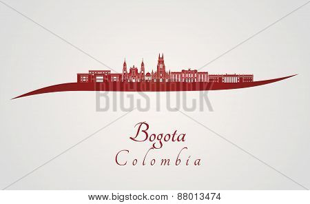 Bogota skyline in red