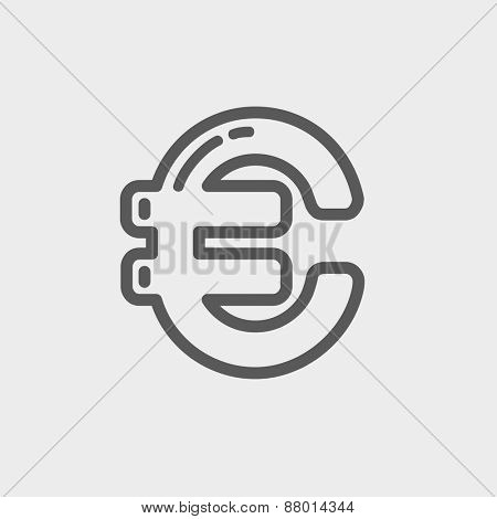 Euro symbol icon thin line for web and mobile, modern minimalistic flat design. Vector dark grey icon on light grey background.