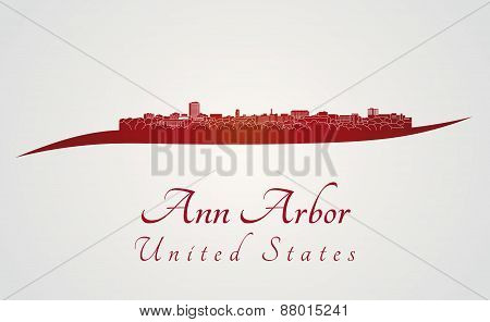 Ann Arbor Skyline In Red
