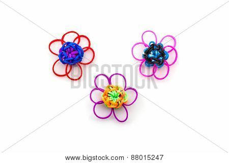Colorful Elastic Rainbow Loom Bands Flower Shaped.