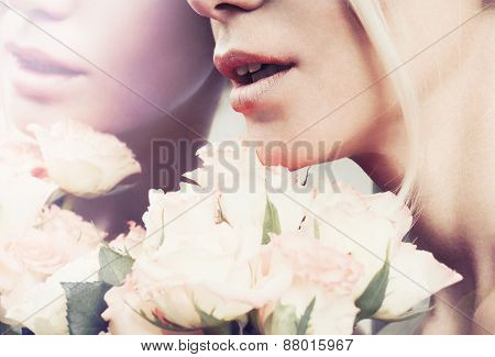 Close Up Sensual Woman's Lips In Pastel Color With Bouquet Of Roses, Reflection In The Mirror