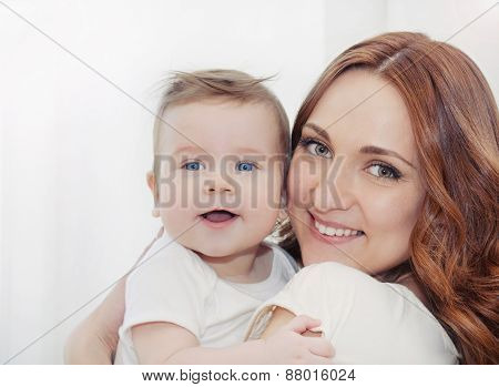 Happy Family Potrait Of Beautiful Young Mother And Her Cute Little Baby Boy