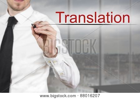 Businessman Writing In The Air Translation