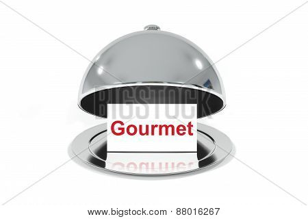 Opened Silver Cloche With White Sign Gourmet
