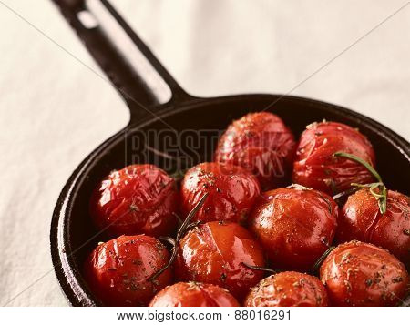 Grilled Cherry Tomatoes And Cast Iron Pot