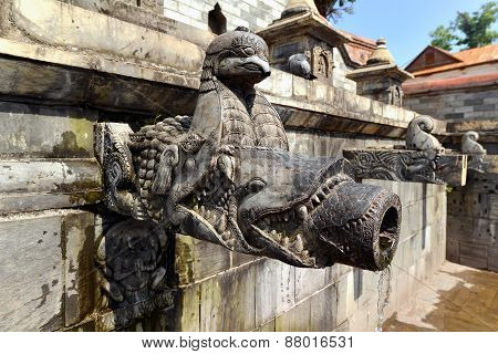 Carved Stone Public Fountain In Pashupatinath, Nepal