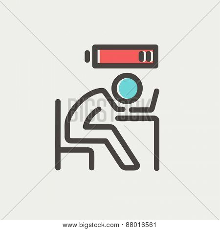 Businessman in low power icon icon thin line for web and mobile, modern minimalistic flat design. Vector icon with dark grey outline and offset colour on light grey background.