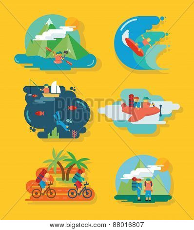 Travel and Fun Icon set with tourism and vacation vector illustration elements
