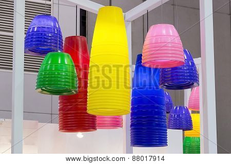 Colorful Round Stylish Lampshades Hang From Ceiling