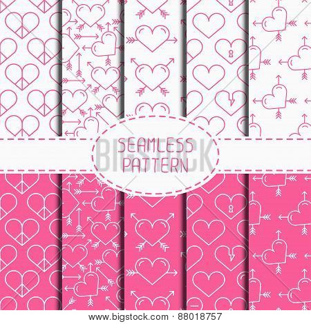 Set of pink romantic geometric seamless pattern with hearts. Collection of paper for scrapbook. Wrap