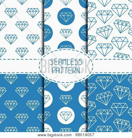 Set of blue hipster fashion geometric seamless pattern with diamond. Collection of paper for scrapbo