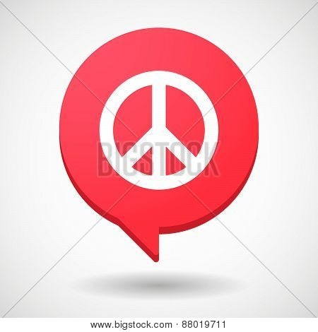 Comic Balloon Icon With A Peace Sign